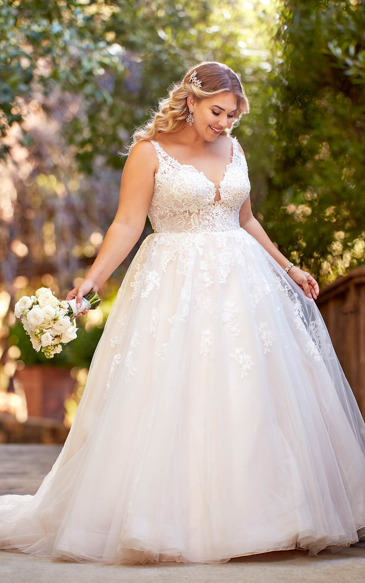 Plus Size Lace and Tulle A-Line Gown with Scoop Back -