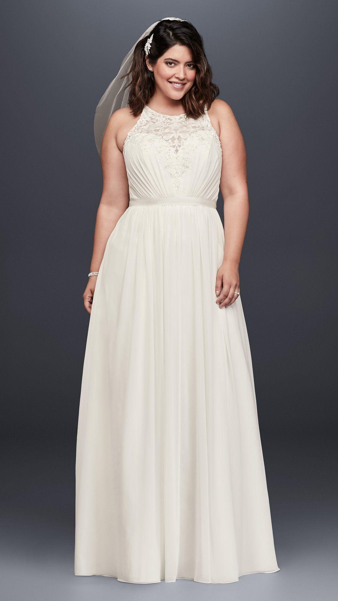 Beaded Chiffon Halter Plus Size Wedding Dress | David's Bridal | Halter wedding dress, Davids bridal wedding dresses, Plus size wedding gowns