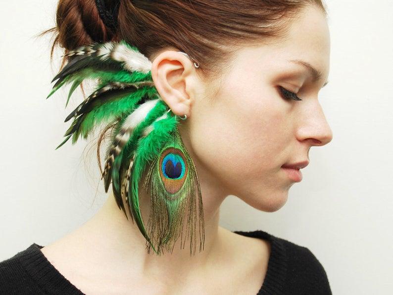 Feather Ear Cuff Ear Cuff Feather Earrings Hippie Hair image 0