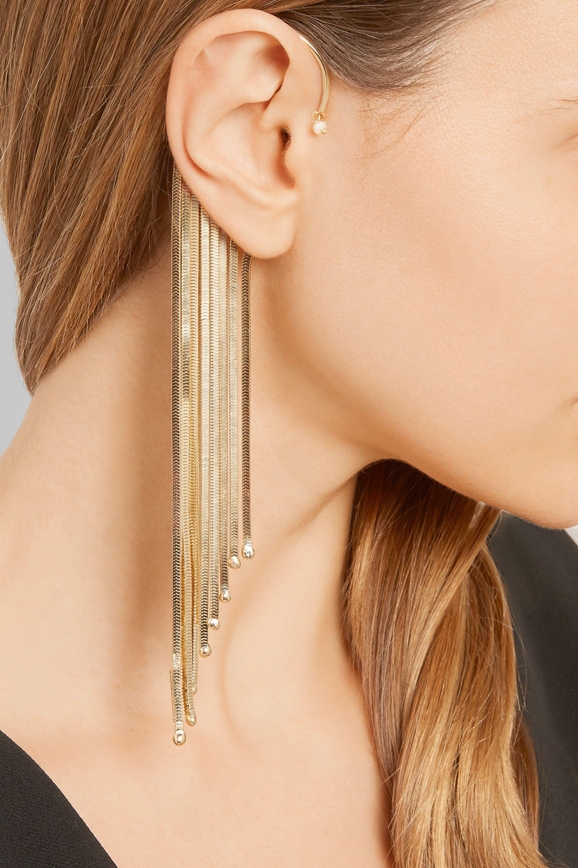 Rosantica Fringed gold-tone pearl ear cuff