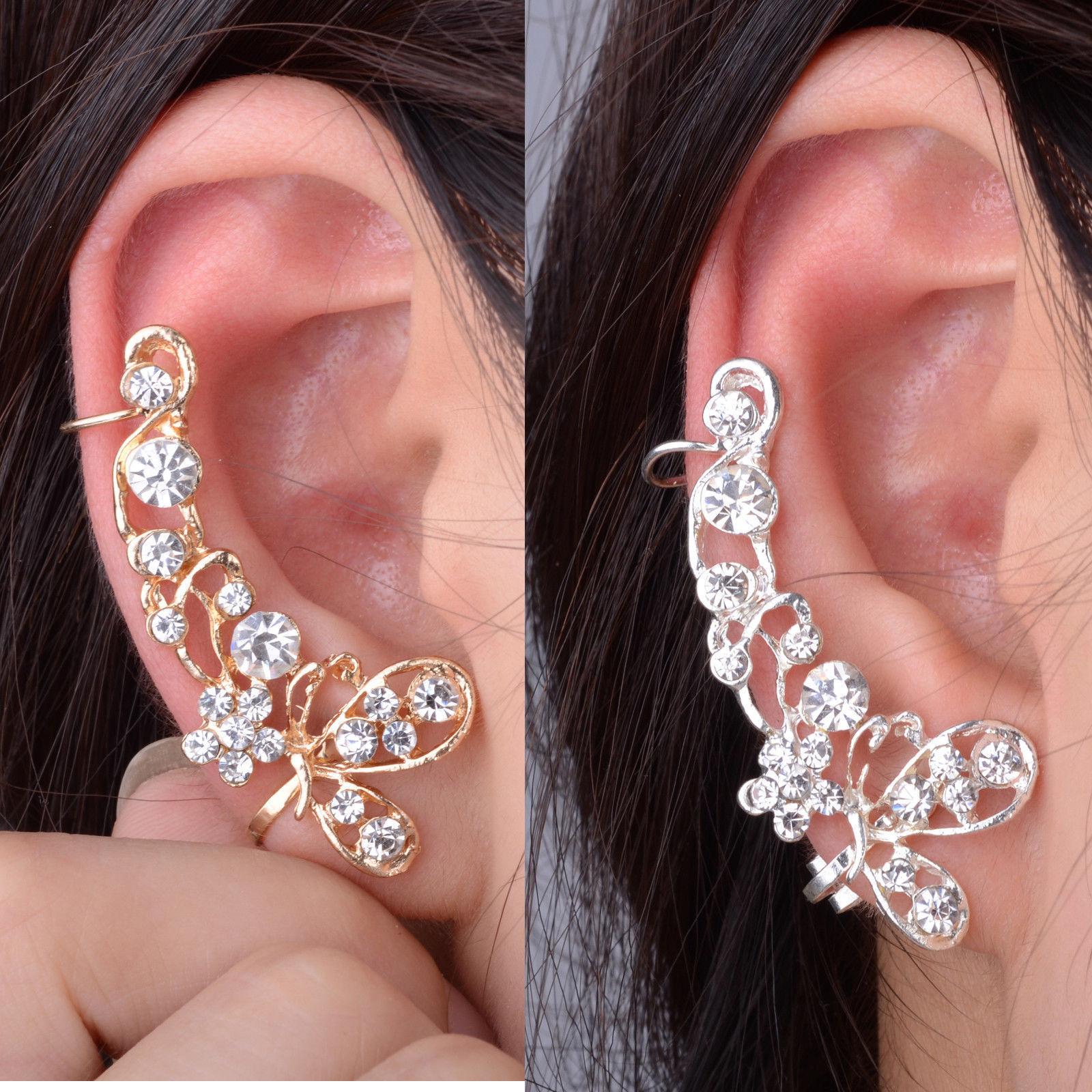 Charm Women's Earring Crystal Butterfly Flower Warp Clip Ear Cuff Stud Gift Hot | Ear cuff, Ear cuff earings, Flower ear cuffs