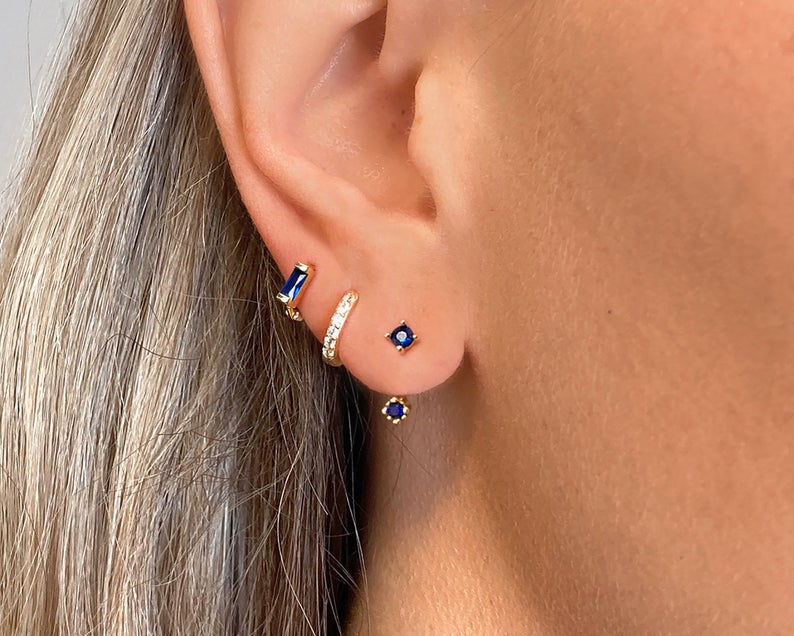 Sapphire Ear Jackets front back earrings dainty ear jacket image 0