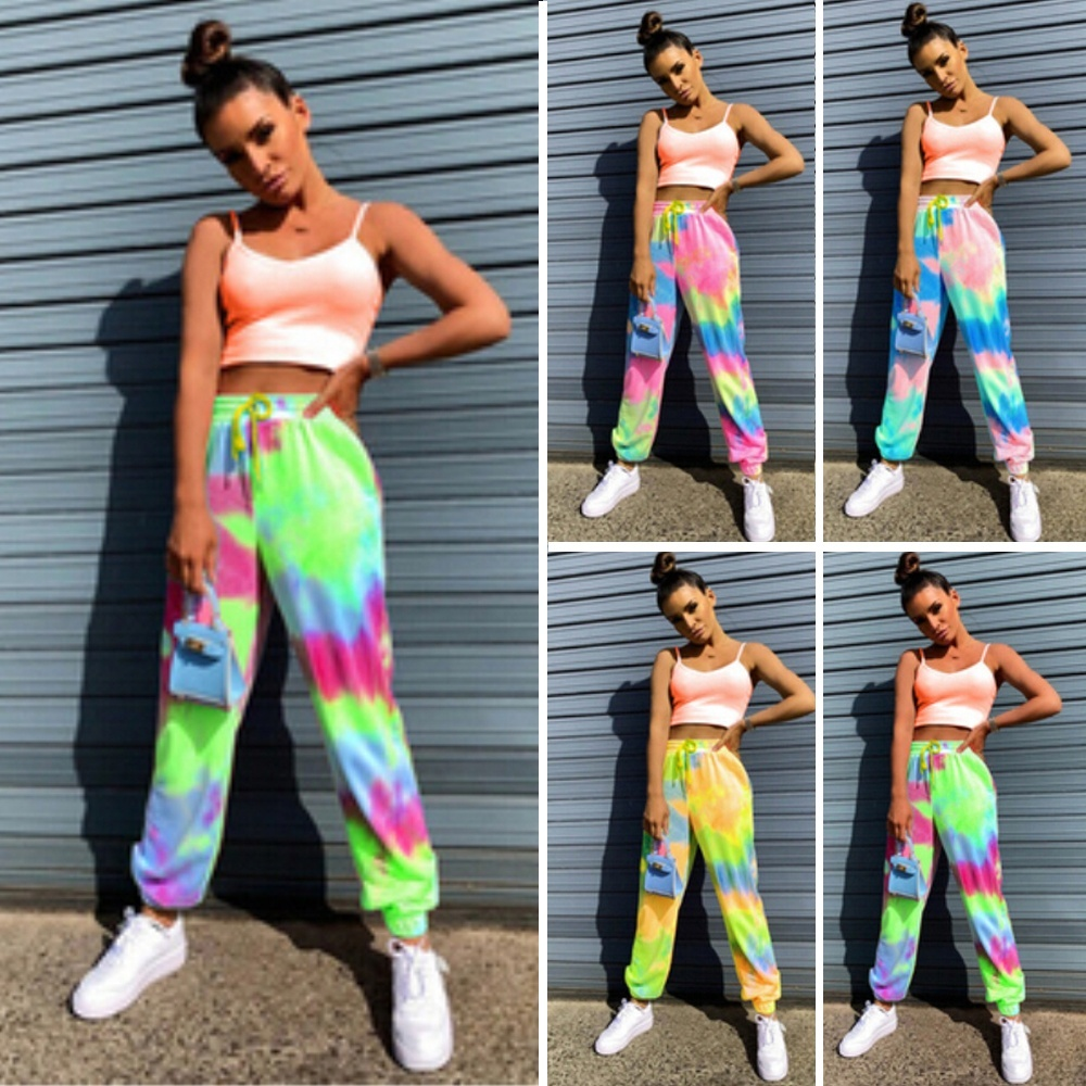 New Summer Women Running Casual Sports Pants Tie Dyeing Print Loose Sweatpants Summer Lace Up Trousers   Walmart Canada