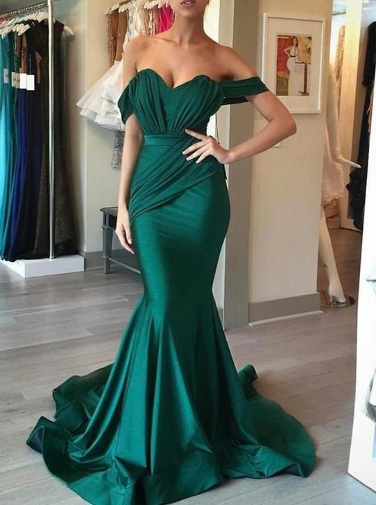 Light Green Pleats Mermaid Off-the-Shoulder Prom Dress