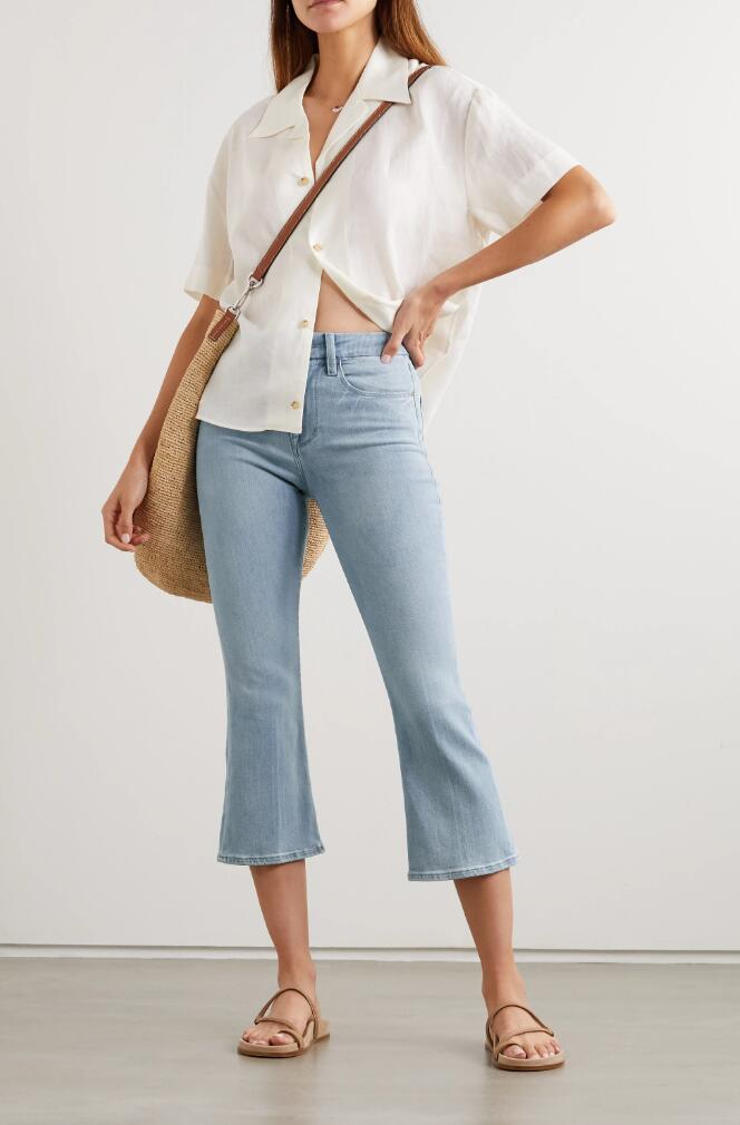 Le Pixie cropped high-rise bootcut jeans
