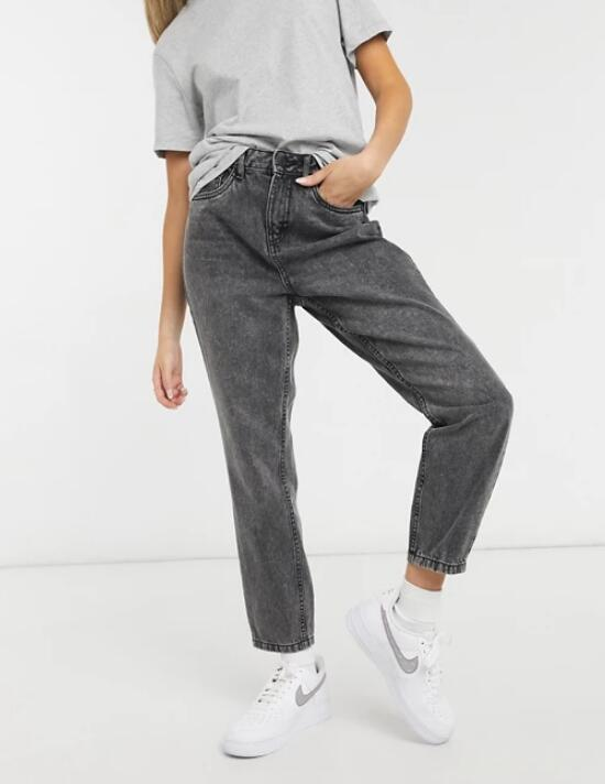 Washed gray jeans for women
