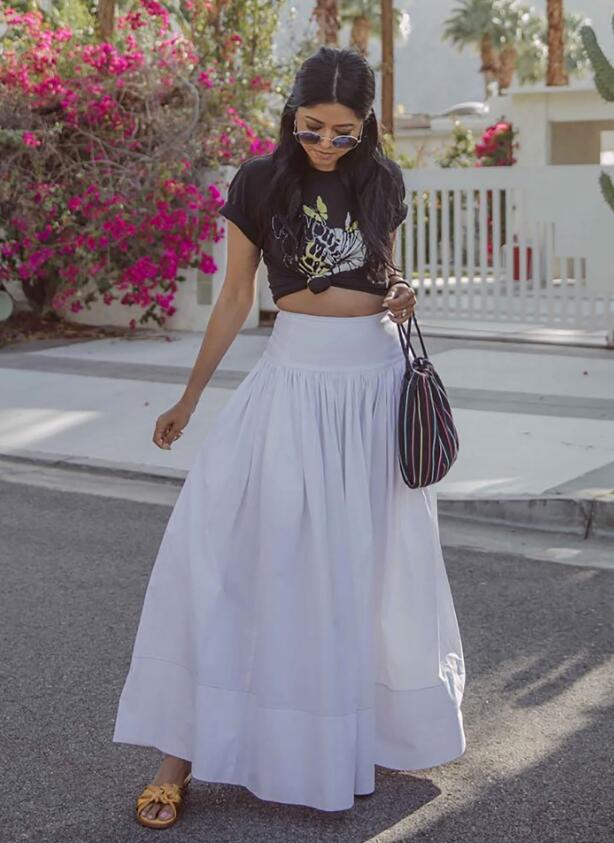 Bring some edge to a maxi skirt with a graphic tee like Walk in Wonderland.