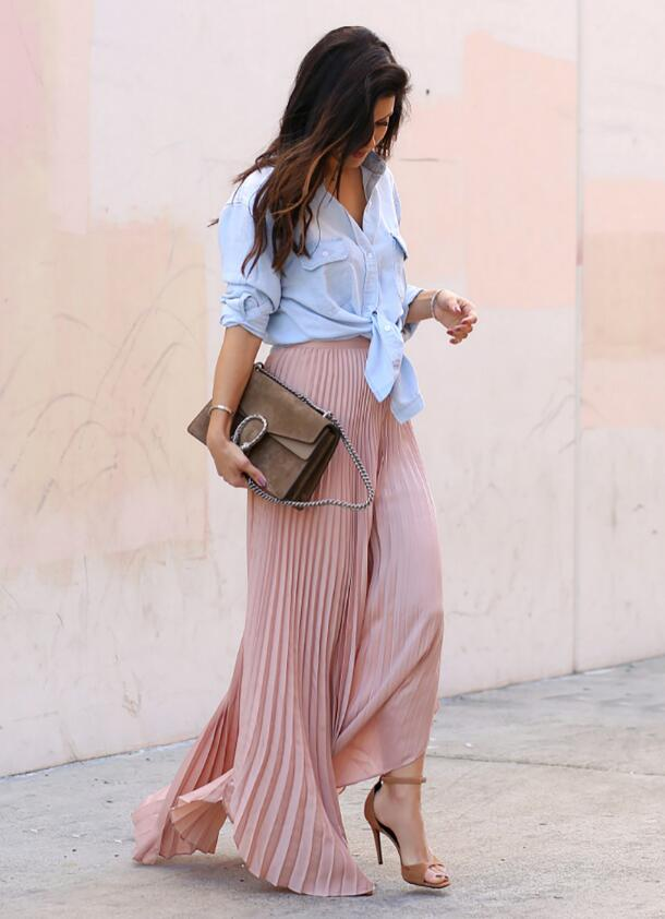 Make a maxi skirt date night ready with a button down like Andee Layne.
