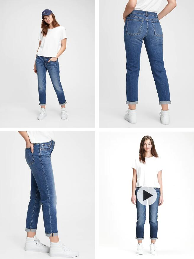 Mid Rise Girlfriend Jeans With Washwell