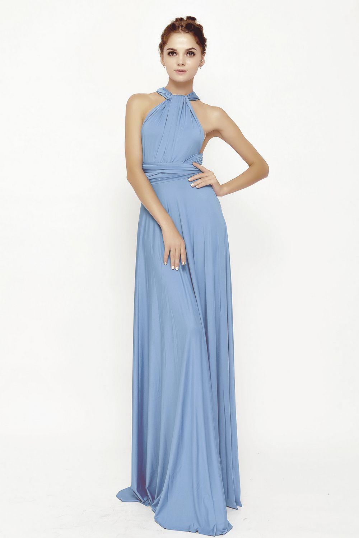 1 Sky Blue Infinity Dresses, Long Convertible Bridesmaid Dress, Evening Dress