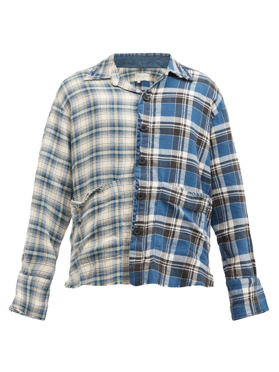 Blue Boxy Studio deconstructed plaid cotton shirt | Greg Lauren | MATCHESFASHION AU