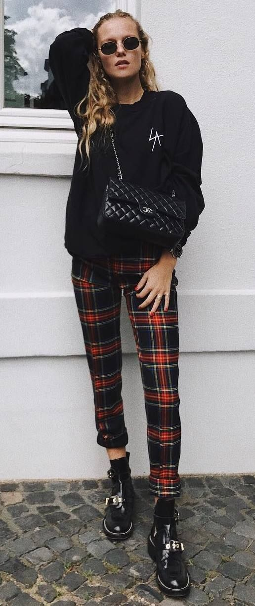 What To Wear With Plaid Pants Black Sweatshirt Plus Bag Plus Boots | Plaid pants outfit, Plaid outfits, Trendy fall outfits