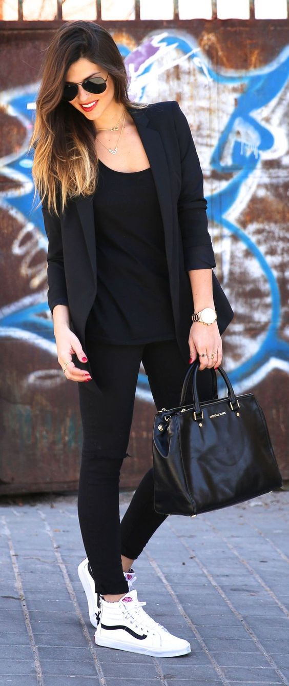 all-black look with a jacket and leggings