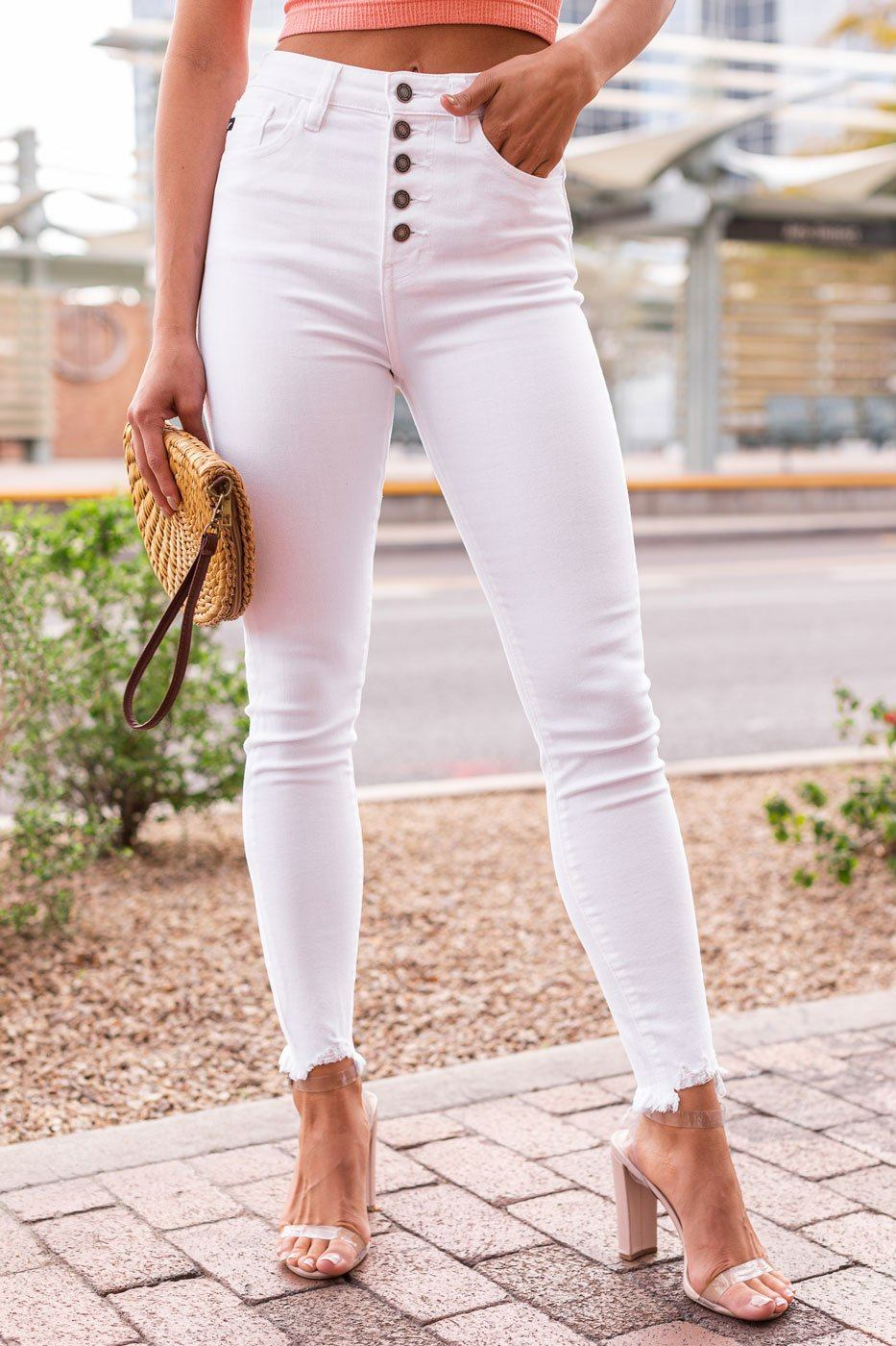 Cambrey White High Waisted Jeans by Priceless