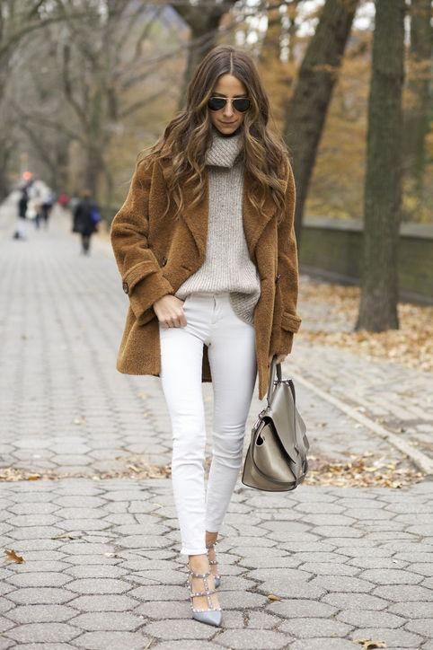 Are You Wearing Your Winter White Jeans the Right Way? | How to wear white jeans, White jeans winter, White denim outfit