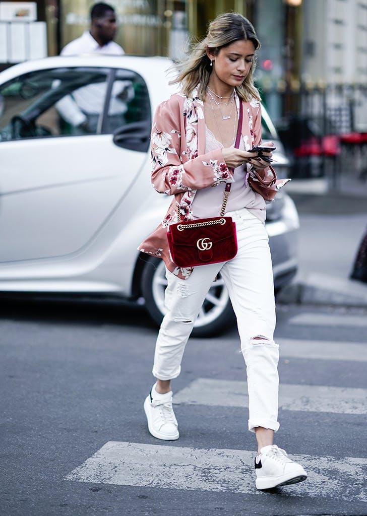 woman wearing white jeans and kimono
