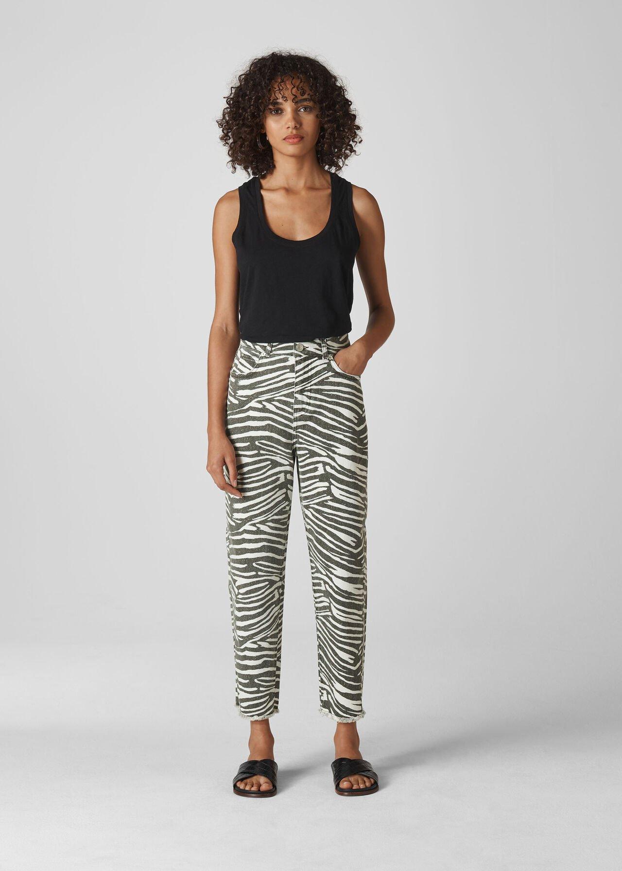 Zebra Print High Waist Barrel Jean | WHISTLES | Whistles