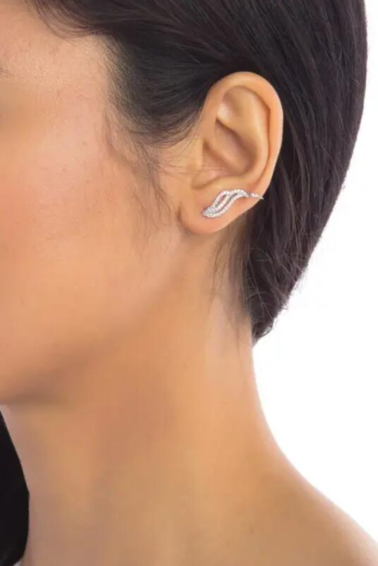 ADORNIA Sterling Silver Swarovski Crystal Accented Wave Ear Climber Earrings