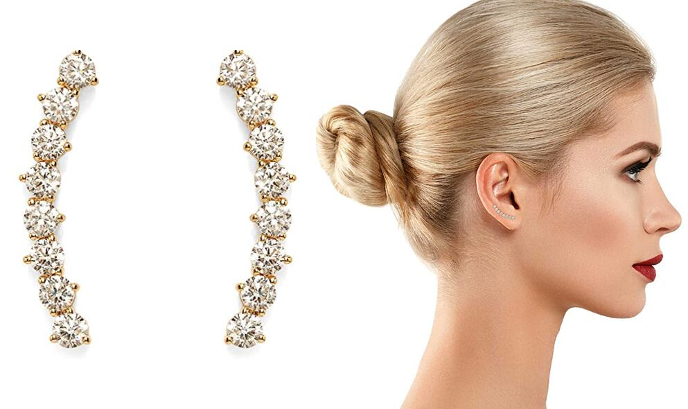 PAVOI 14K Gold Plated Hearts & Arrows Simulated Diamond Ear Crawler - Cuff Earrings Hypoallergenic Stud Ear Climber Jackets