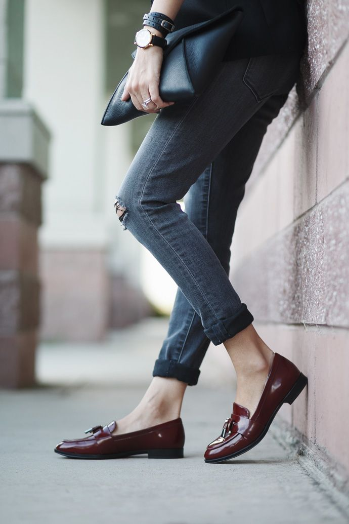 Black, Grey & Burgundy Loafers | Loafers outfit, Womens fashion sneakers, Sneaker outfits women