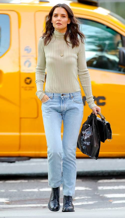 Katie Holmes with low rise jeans