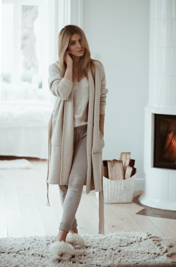 Picture Of dress up in a neutral way for home – wear a top, joggers, a long cardigan and fluffy slippers