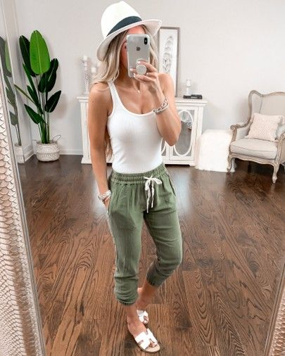 Vacation / spring outfit idea White tank top size xs Olive green joggers pants size xs White fedora hat… | Hat outfits spring, Hat outfits summer, White hat outfit