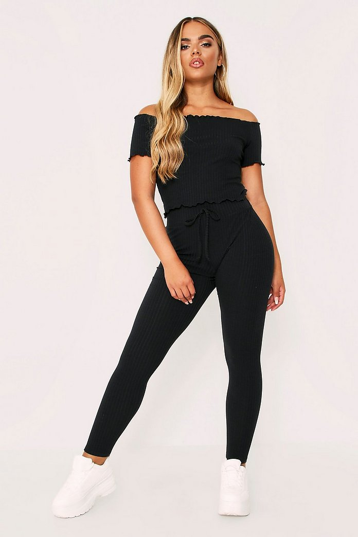 Lounge Set Rib With Joggers & Off The Shoulder Top | Misspap UK
