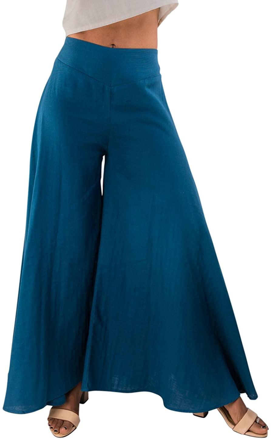Tropic Bliss Wide Leg Organic Cotton Palazzo Pants for Women, Casual Bohemian Style Skirt Pant at Amazon Women's Clothing store