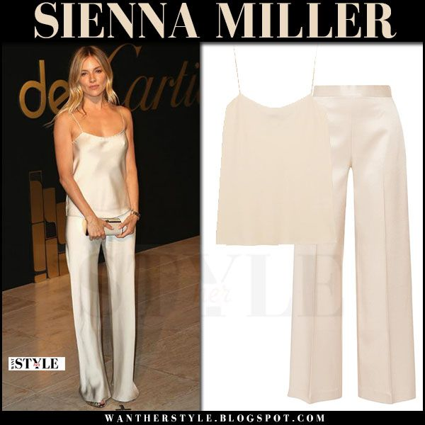 Sienna Miller in biege silk camisole and silk pants the row | White silk cami, Silk pants outfit, White pants outfit