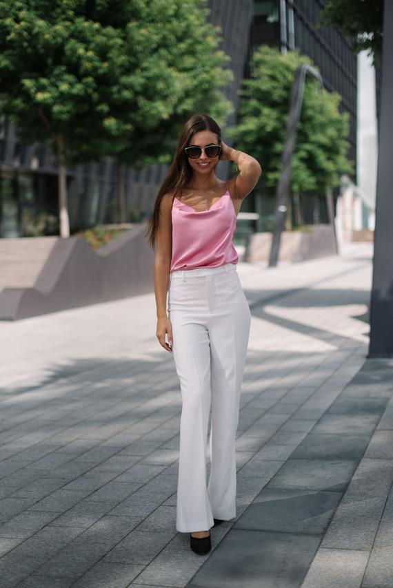 Pink silk blouse Spaghetti strap top Artificial silk camisole | Etsy