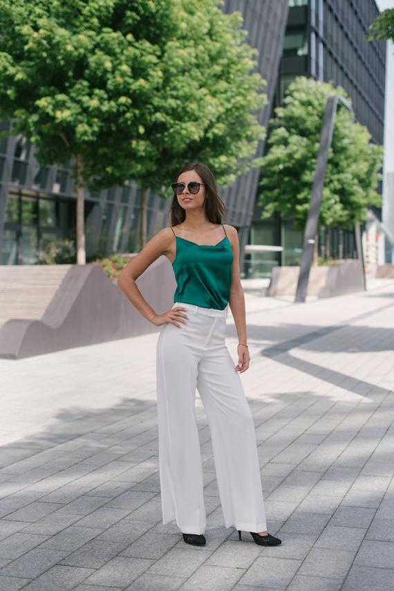 Green silk blouse Artificial silk camisole top Spaghetti strap | Etsy