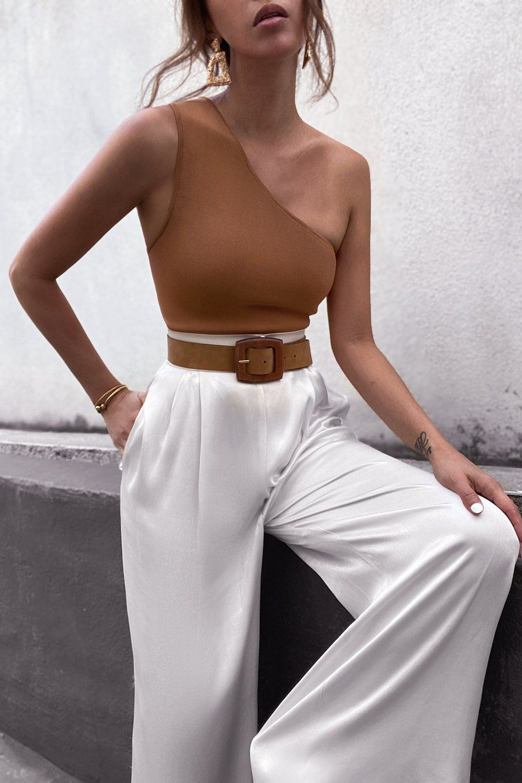BASIC ONE SHOULDER TOP - TAN | Fashion inspo outfits, Stylish outfits, Fashion