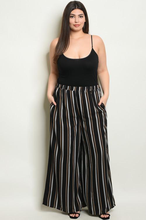 Black Stripe Wide Leg Plus Size Palazzo Pants – Diva's Plus Size Fashion & Accessories