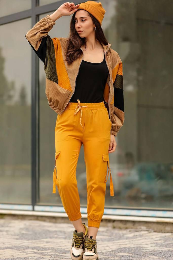 Women's Elastic Legs Mustard Cargo Pants
