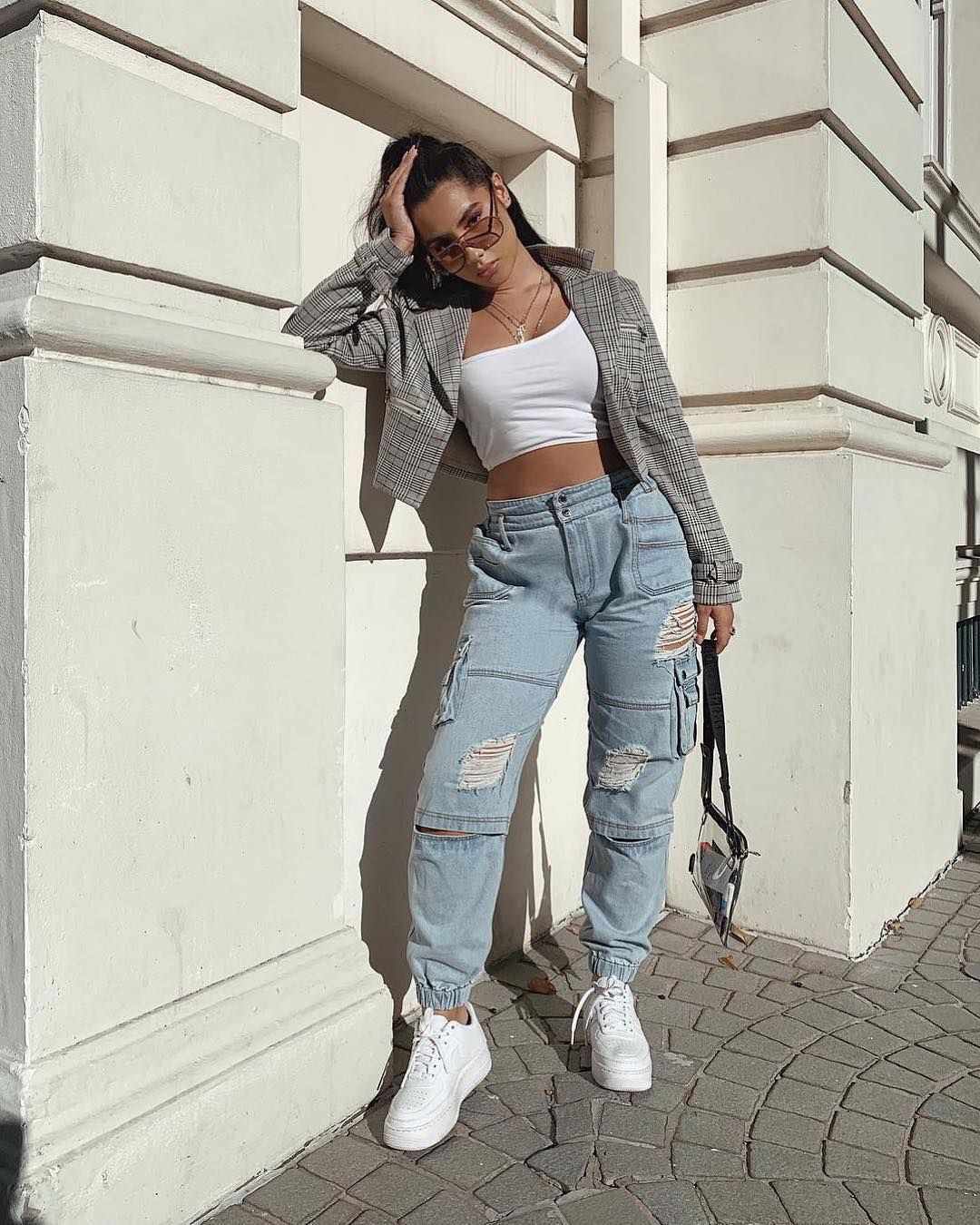 """Manière De Voir on Instagram: """"Cargo styles, with hand distressed tears ⚔ @xanetia_unnarae wears the Denim Distressed Carg… 