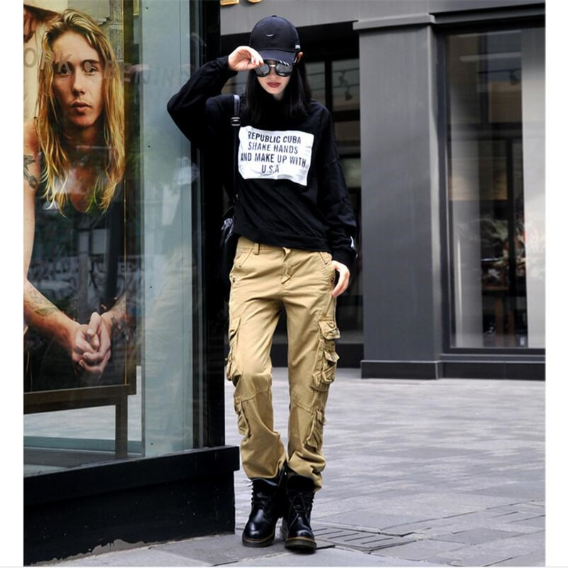 New Cargo Pants Women Fashion Women Pants Summer Loose More Pocket Zipper Women Trousers Pants