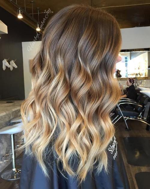Brown Hair with Caramel Blonde Balayage Highlights - Ombre Balayage Hairstyle, Wavy Long Hair