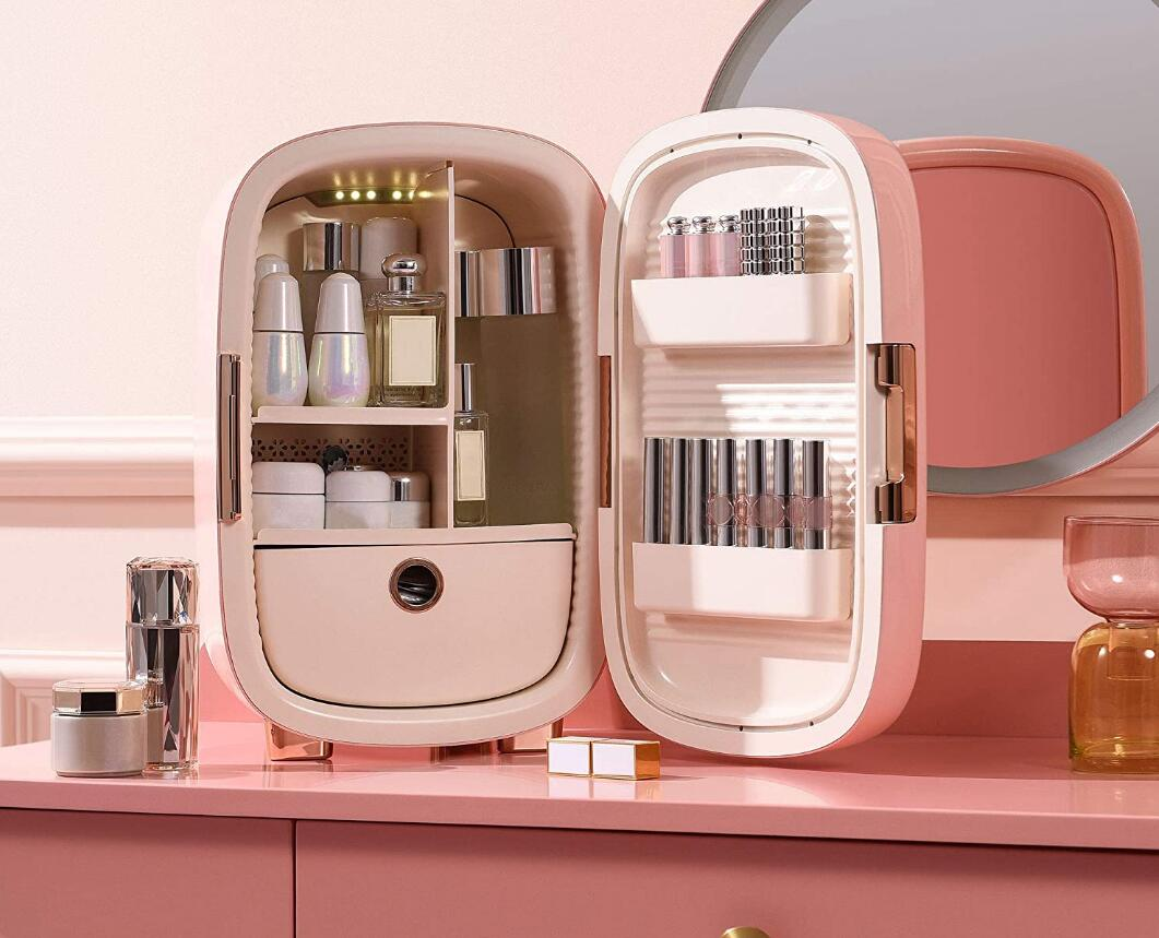 Best 12L Makeup Fridge - Pink Mini Fridge for Skin Care Accessories, Cosmetics and Facial Masks Storage - Interior LED Lights - Cool Gift for Women & Teen Girls Room