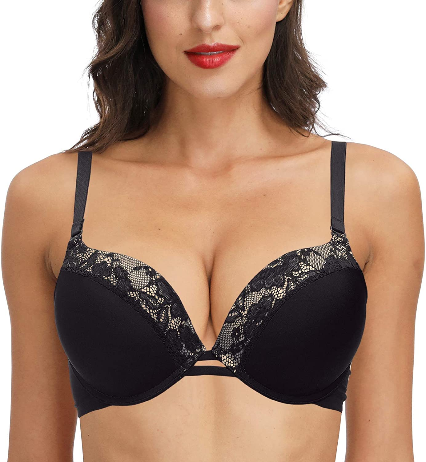 Low Neck-line Padded Bra for Small Chests - Plusexy Padded 'Add One Cup' Underwire Plunge Bra
