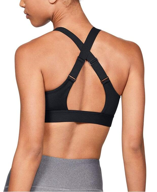 back view of Under Armour Women's Eclipse High Impact Front Zip Sports Bra for running