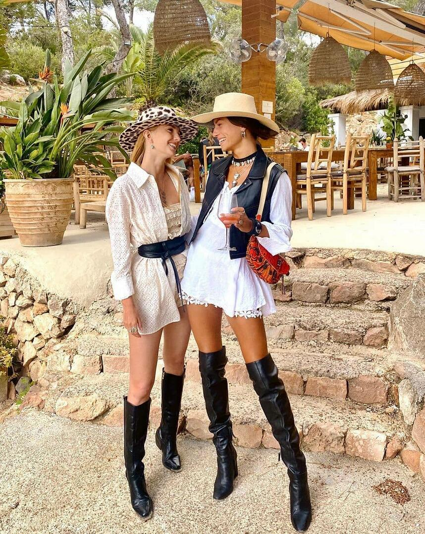 Wear over-the-knee boots - late summer/autumn shorts suit