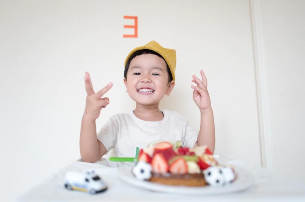 cute boy with food