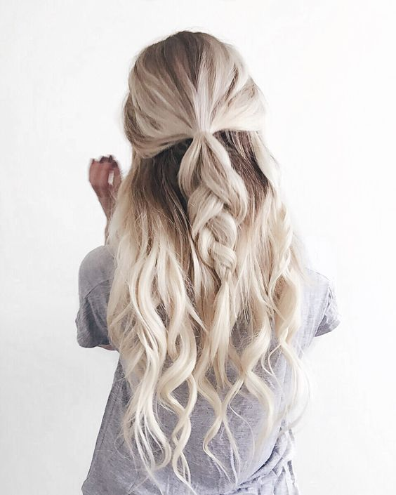 Half Up Braid beachy wavy braid hairstyle 2017