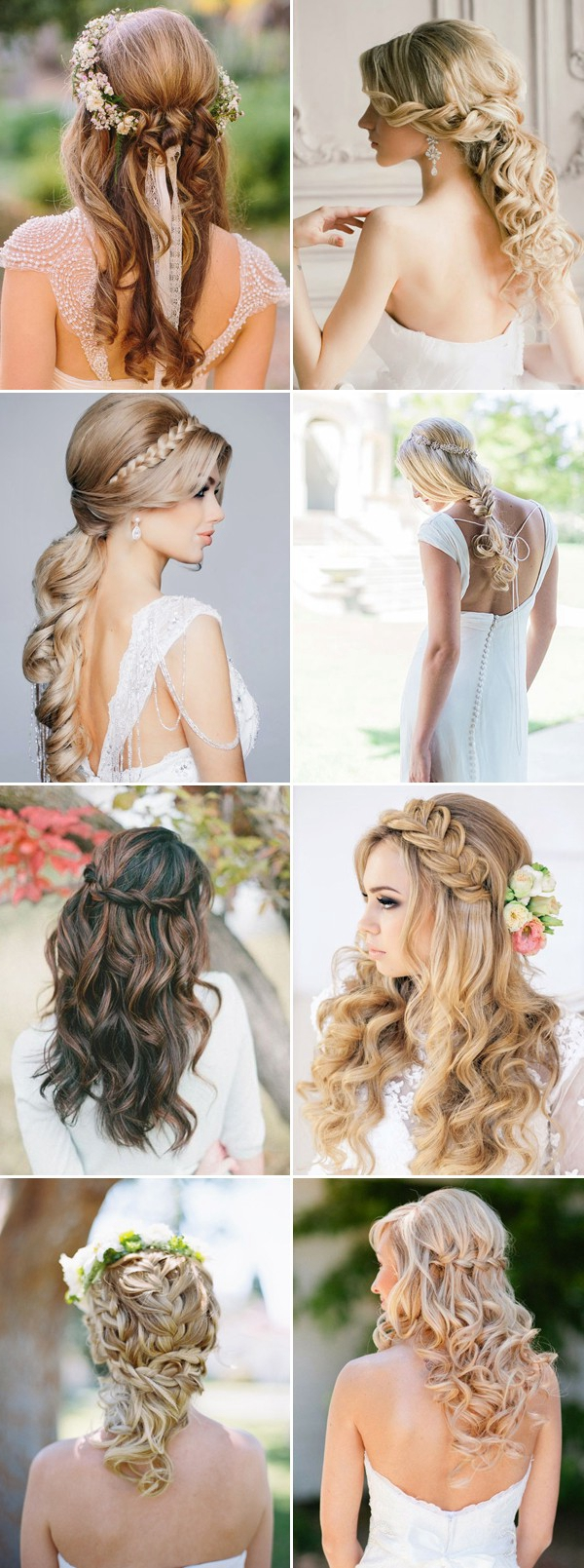 Braided Half Up Down Wedding Hairstyles For