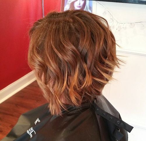 Textured Curly Inverted Bob Haircut For Thick Hair