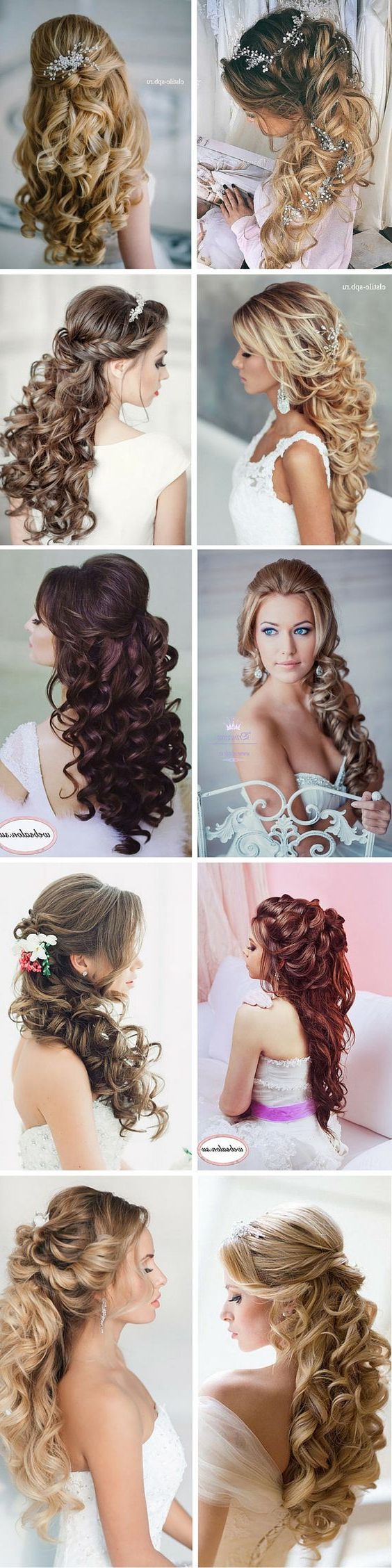100 romantic long wedding hairstyles 2018 curls half up updos elegant curly half up half down wedding hairstyles junglespirit Image collections