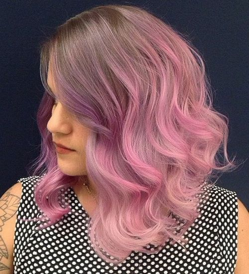 Light Brown to Bubblegum Pink Blend Hair Style for Mid-length Hair