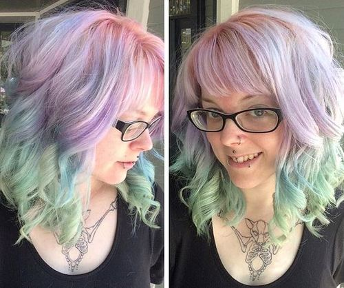 Medium Rainbow Pastel Hairstyle with Bangs