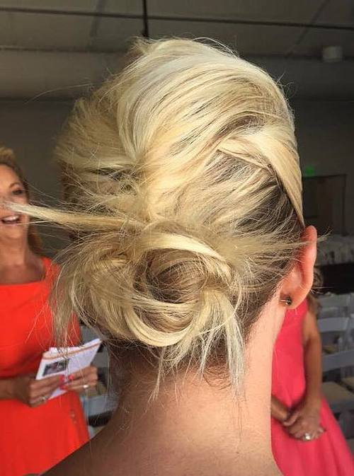Medium White Blonde Twisted Low Bun Updo for Wedding